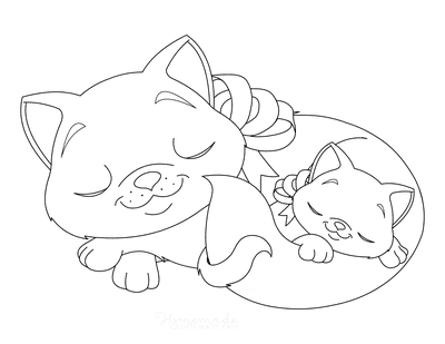 Cat Coloring Pages Mother and Kitten Sleeping With Bows