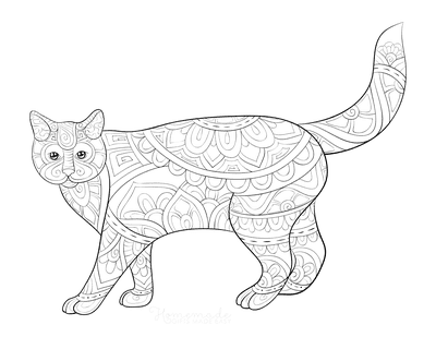 Cat Coloring Pages Patterned Walking Cat for Adults