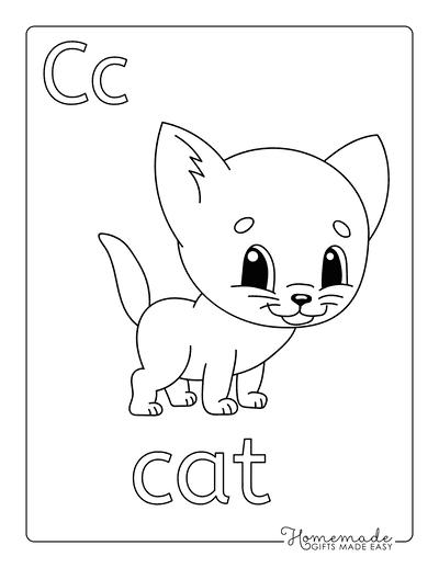 Cat Coloring Pages Preschool C a T