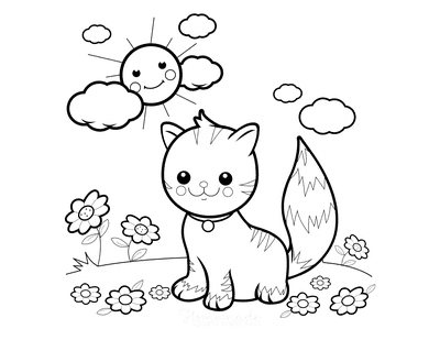 Cat Coloring Pages Preschool Garden Flowers