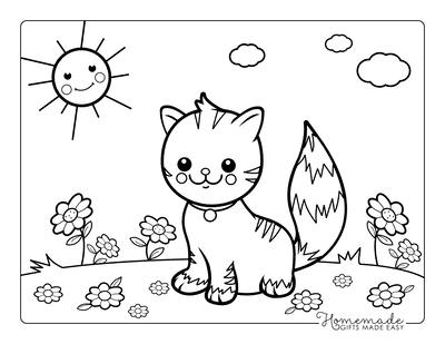 Cat Coloring Pages Preschool Garden Flowers