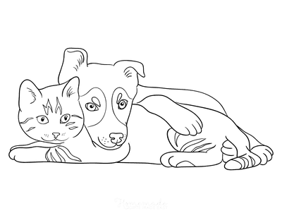 Cat Coloring Pages Puppy Dog Cat Cuddle