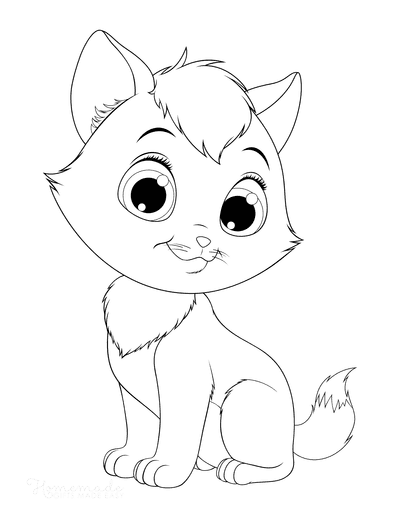 Cat Coloring Pages Wide Eyed Cute Cat