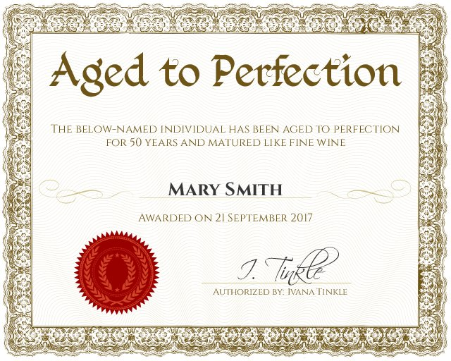 aged to perfection 50th or 60th birthday funny certificate template