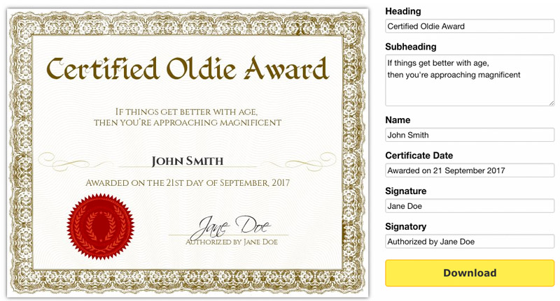 Free printable gag certificates yadclub Choice Image