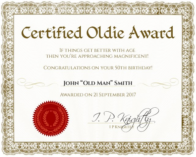 Certified Oldie Certificate Template  Congratulations Award Template