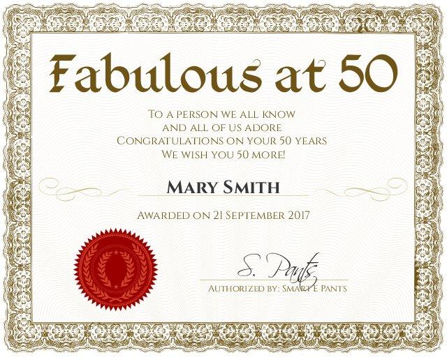 fabulous at 50 certificate template