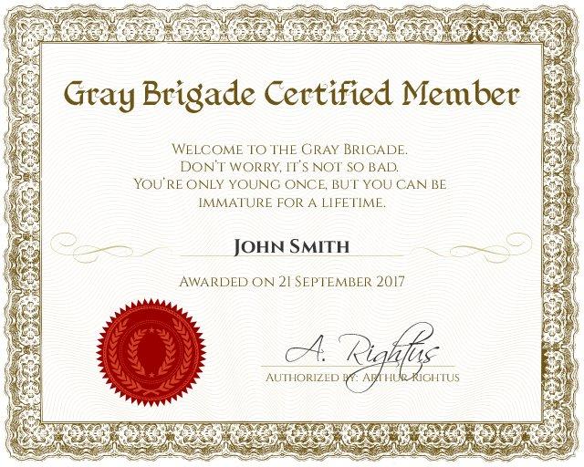 gray brigade certificate template