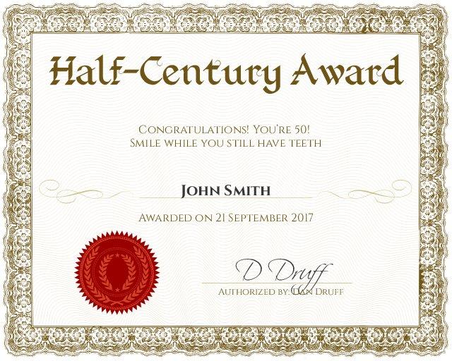 half-century 50th birthday certificate template