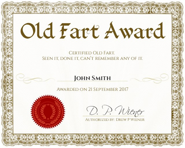 old fart funny award certificate template for 50th or 60th birthday