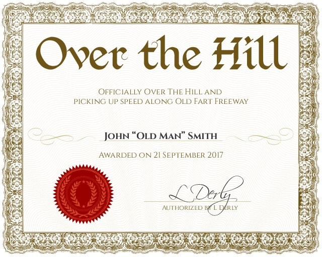 over the hill certificate template