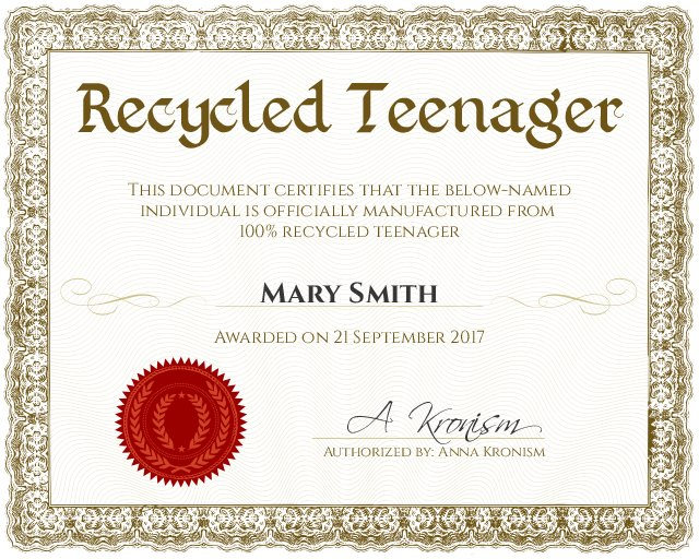 recycled teenager certificate template