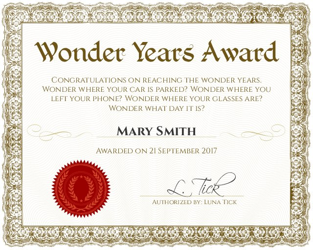 wonder years funny award certificate template for 50th or 60th birthday