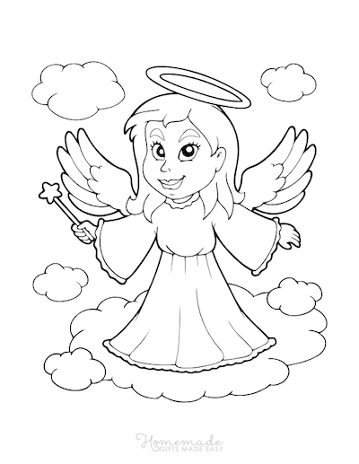 Christmas Coloring Pages Angel Cloud Halo
