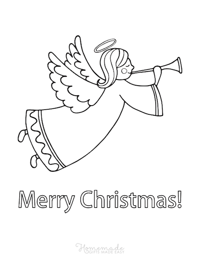 Christmas Coloring Pages Angel Trumpet Merry