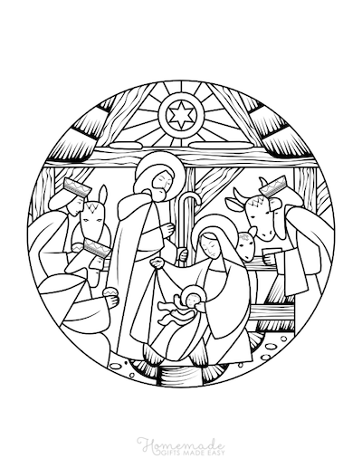 Christmas Coloring Pages Baby Jesus Mary Joseph Manger Stain Glass
