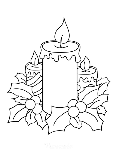 Christmas Coloring Pages Candles With Holly