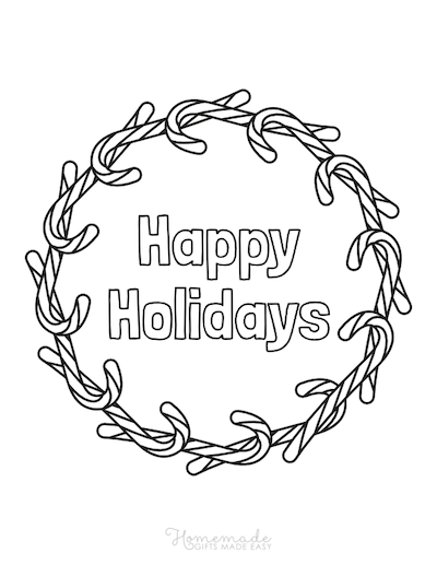 Christmas Coloring Pages Candy Cane Wreath Happy Holidays