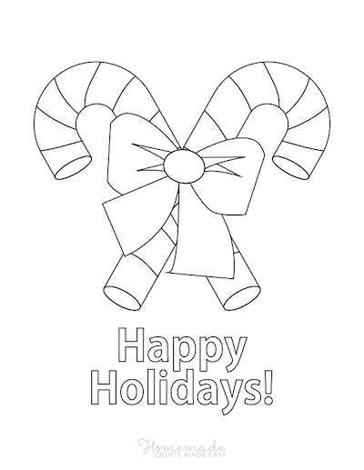 Christmas Coloring Pages Candy Canes Bow Happy Holidays