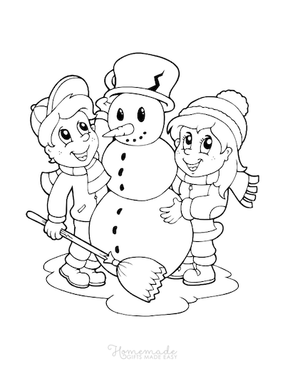 Christmas Coloring Pages Children Build a Snowman