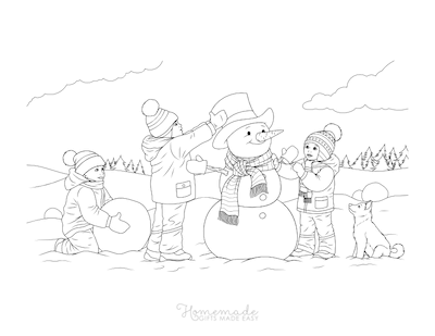 Christmas Coloring Pages Children Building Snowman