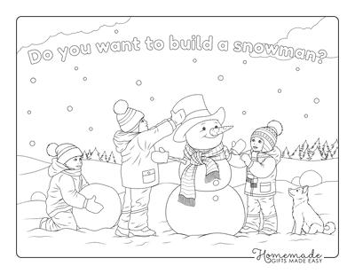 Christmas Coloring Pages Children Building Snowman