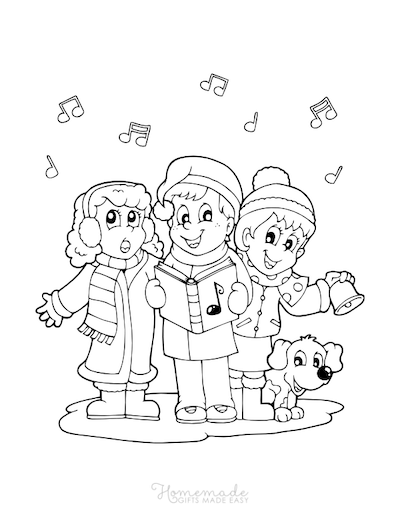 Christmas Coloring Pages Children Singing Carols