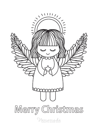 Christmas Coloring Pages Cute Angel Star Halo
