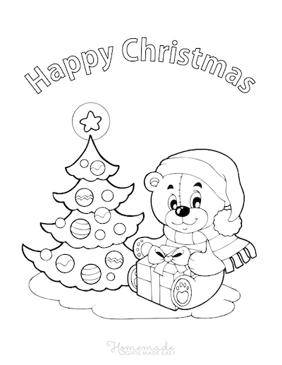 Christmas Coloring Pages Cute Bear Gift Tree Merry