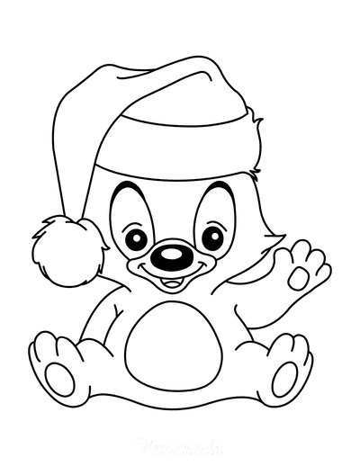 Christmas Coloring Pages Cute Bear Wearing Santa Hat Preschoolers