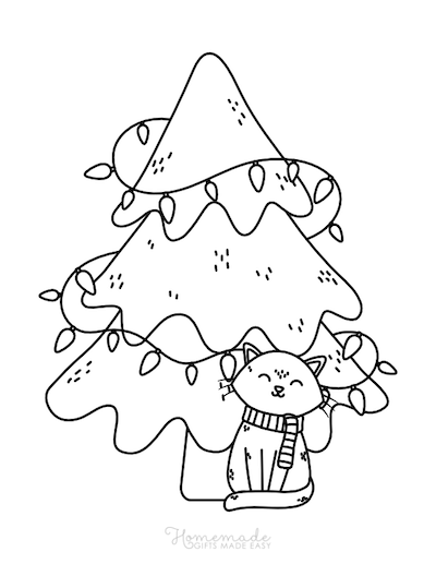 Christmas Coloring Pages Cute Cat Tree Lights