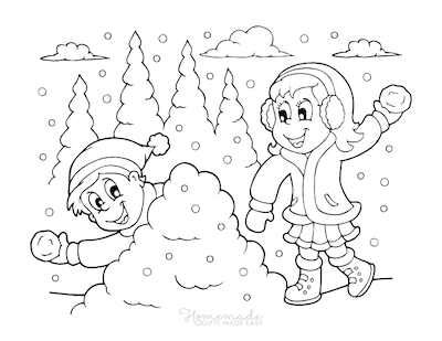 Christmas Coloring Pages Cute Children Snowman Fight