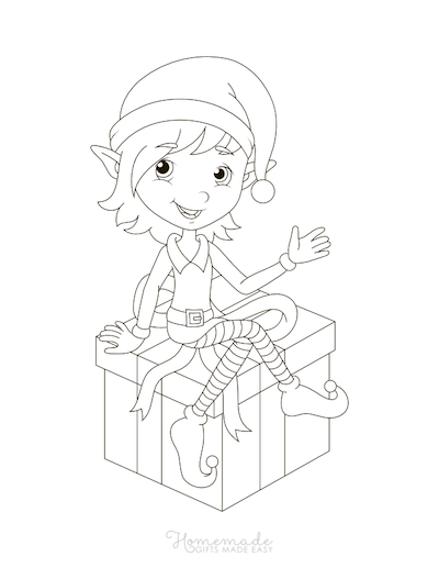 Christmas Coloring Pages Cute Elf Gift Box