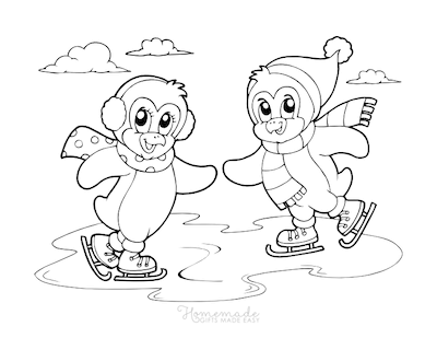 Christmas Coloring Pages Cute Penguins Skating
