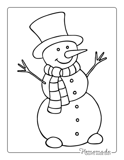 Christmas Coloring Pages Cute Snowman With Scarf