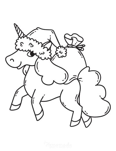 Christmas Coloring Pages Cute Unicorn Santa Hat Sack