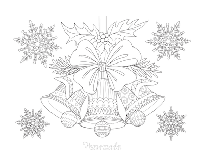Christmas Coloring Pages Decorative Bells Snowflakes