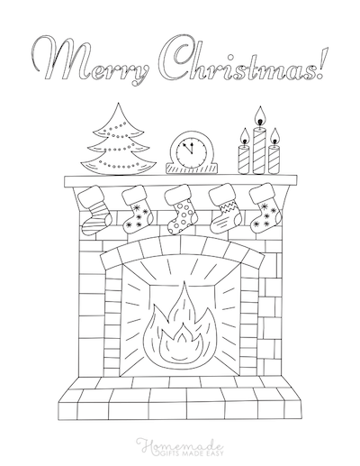 Christmas Coloring Pages Fireplace Stockings