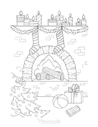 Christmas Coloring Pages Fireside Tree Gifts Stockings