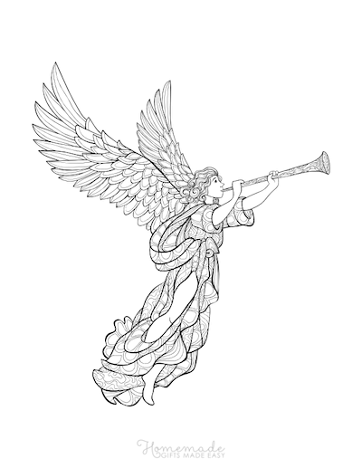Christmas Coloring Pages for Adults - Angel Trumpet Intricate Doodle