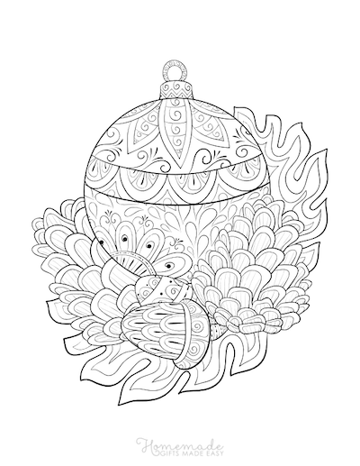 Christmas Coloring Pages for Adults Bauble Pinecone Acorn