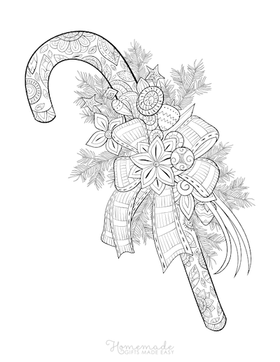 Christmas Coloring Pages for Adults - Candy Cane
