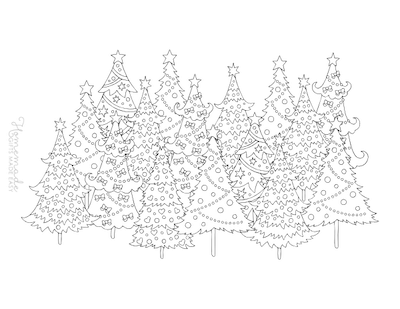 Christmas Coloring Pages for Adults - Decorated Christmas Tree Forest