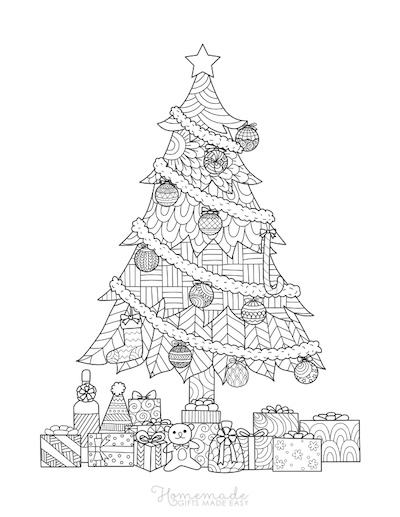 Christmas Coloring Pages for Adults Decorated Tree Gifts Intricate Pattern