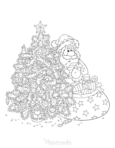 Christmas Coloring Pages for Adults Decorated Tree Santa Delivering Gifts