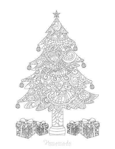 Christmas Coloring Pages for Adults - Decorated Tree With Wrapped Gifts Intricate Doodle