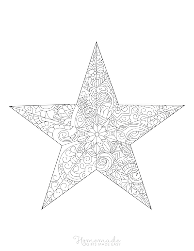 Christmas Coloring Pages for Adults Decorative Star