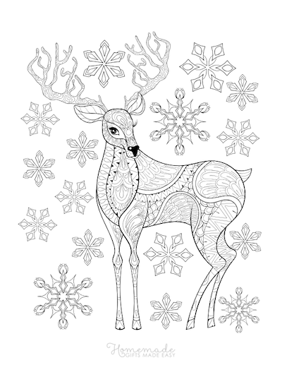 Christmas Coloring Pages for Adults - Deer Antlers Snowflakes Intricate