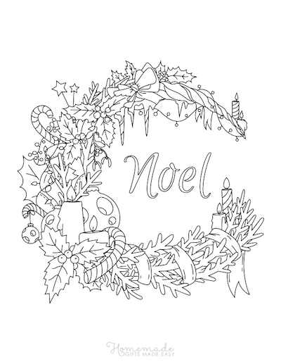 Christmas Coloring Pages for Adults - Festive Wreath Noel