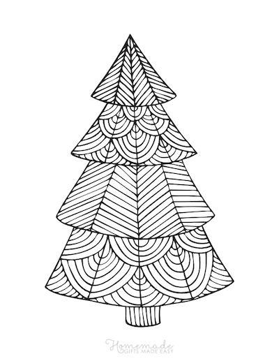 Christmas Coloring Pages for Adults Geometric Tree